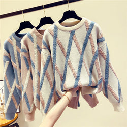 Ins Stylish Hot Round Neck Plaid Knit Leisure Sweater