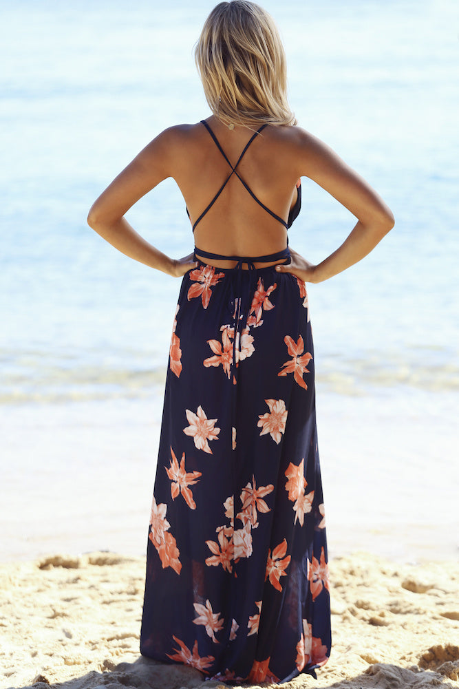 Ins Hot Backless Floral Printed High Slit Maxi Prom Dress