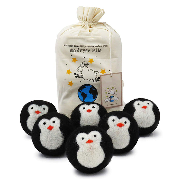 Organic Eco Wool Dryer Balls, Black Penguin, Handmade, 6 Pack Cool Friends