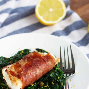 Wrapped Cod with Lemon Caper Spinach