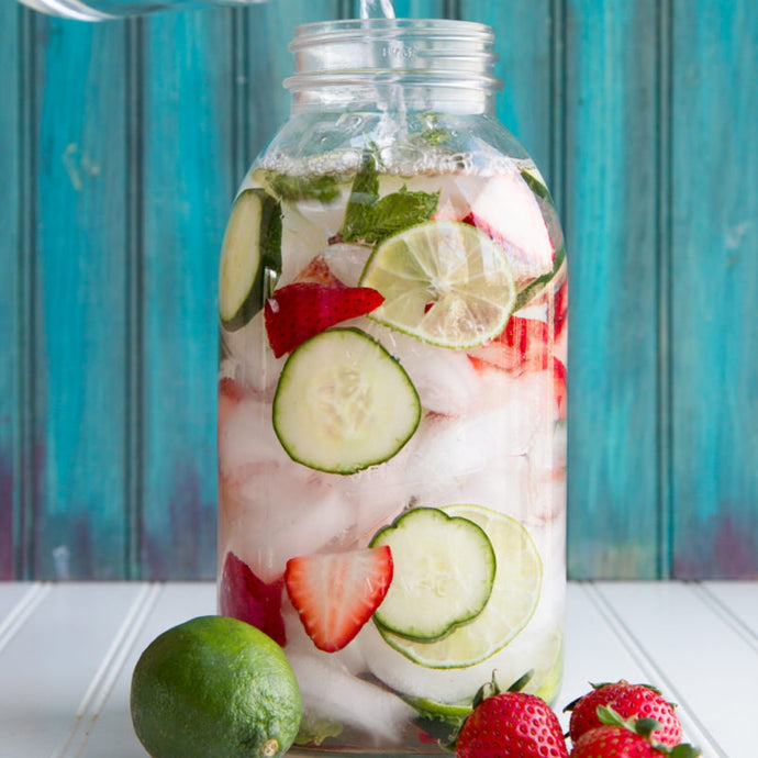 Strawberry, Lime, Cucumber and Mint Infused Water