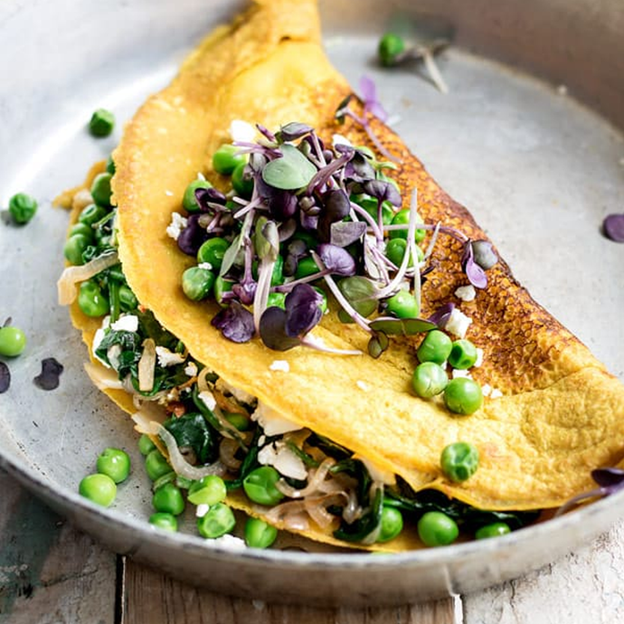Chickpea Omelette with Spinach and Spring Peas