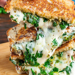 Easy Cheesy Vegan Spinach Pesto Grilled Cheese
