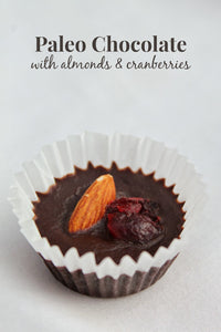 Paleo Chocolate muffins with almonds and cranberries