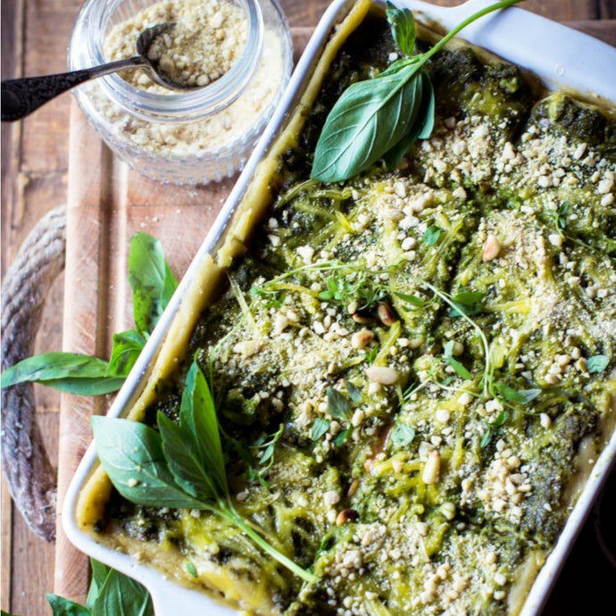 Vegan Lasagna with Spinach Pesto