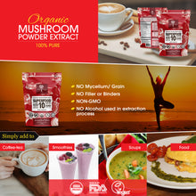 14:1 SUPERFOOD 10 Organic Mushroom Powder Extract Supplement- USDA- Add to Coffee/Drinks-60g