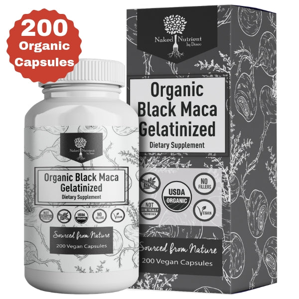 USDA Organic Vegan Gelatinized Black Maca Root- 3,000mg 3x concentrate per Serve-200 Vegan Capsules