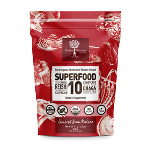 14:1 SUPERFOOD 10 Organic Mushroom Powder Extract Supplement- 100% Pure-USDA-60g