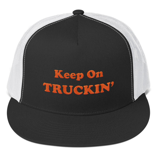 Keep On Truckin' - Orange | High Quality Embroidered Trucker Hat