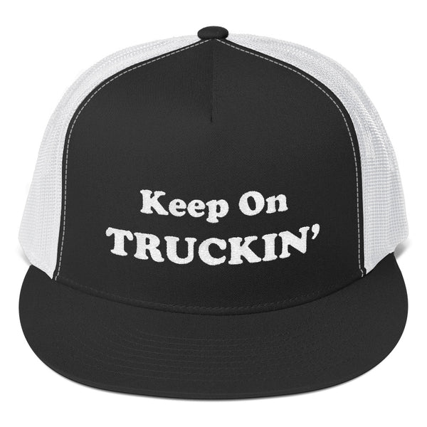 Keep On Truckin' - White | High Quality Embroidered Trucker Hat