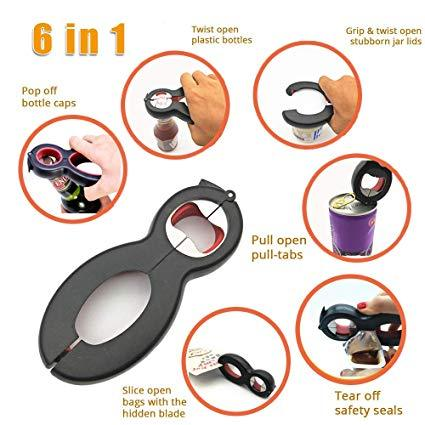 1 pc 5-in-one Bottle Opener Multi-function Blade Jar Opener with Cup Hooks