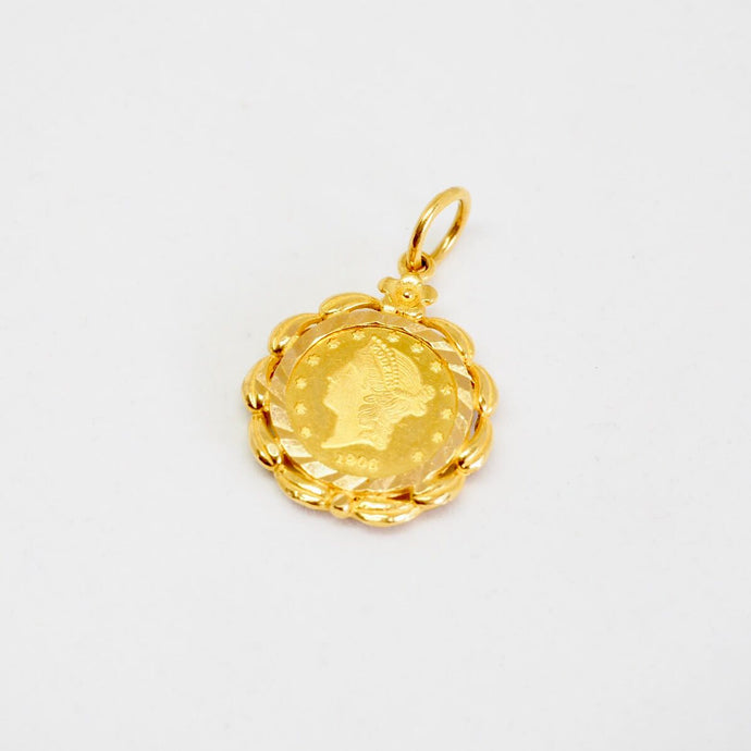 Gold Framed Medallion Pendant