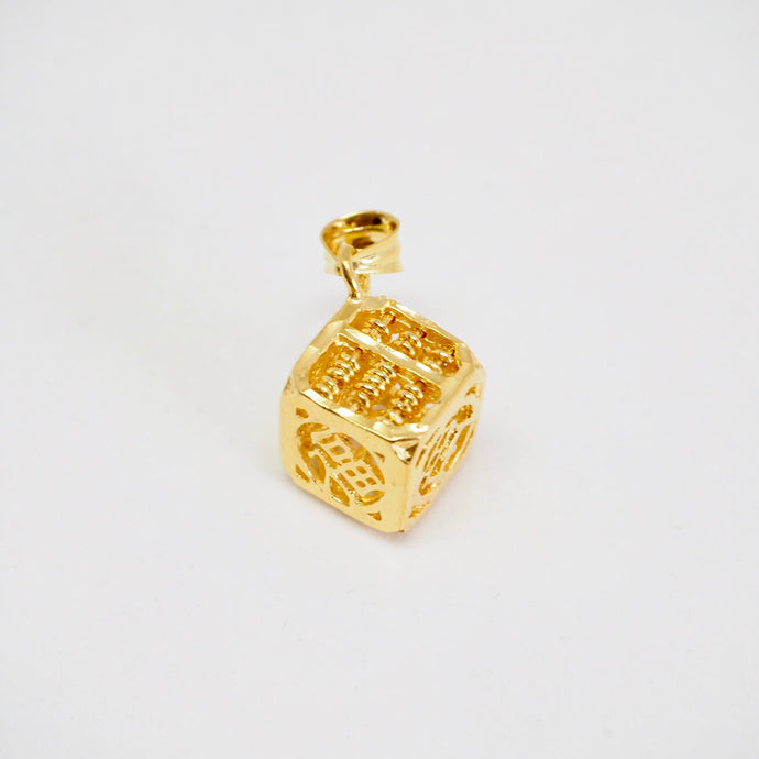Gold Cube Of Wealth Pendant