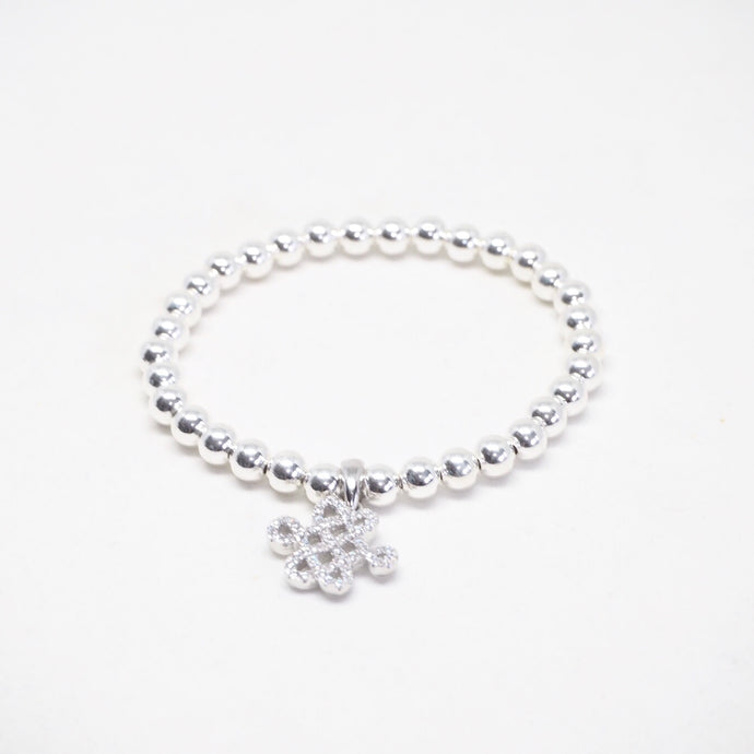 Silver Bead Bracelet with Mystic Knot Charm