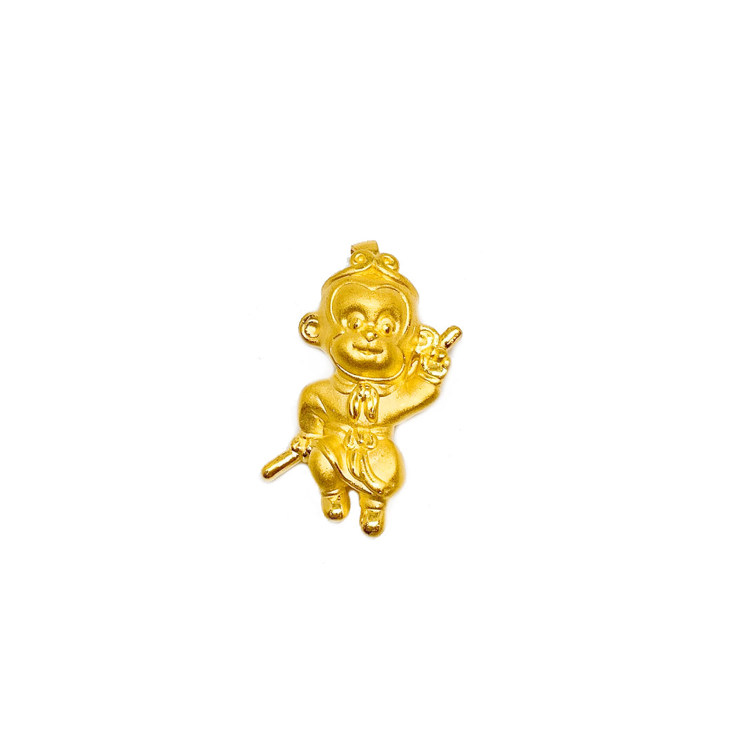3D Sun Wu Kong With Golden Rod Pendant