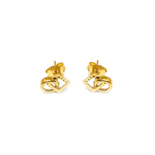 Push Type Interlinked Square And Circle Earring Stud