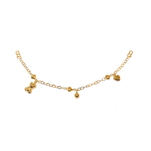 Mixed Charms Baby Anklet - Bear and Heart