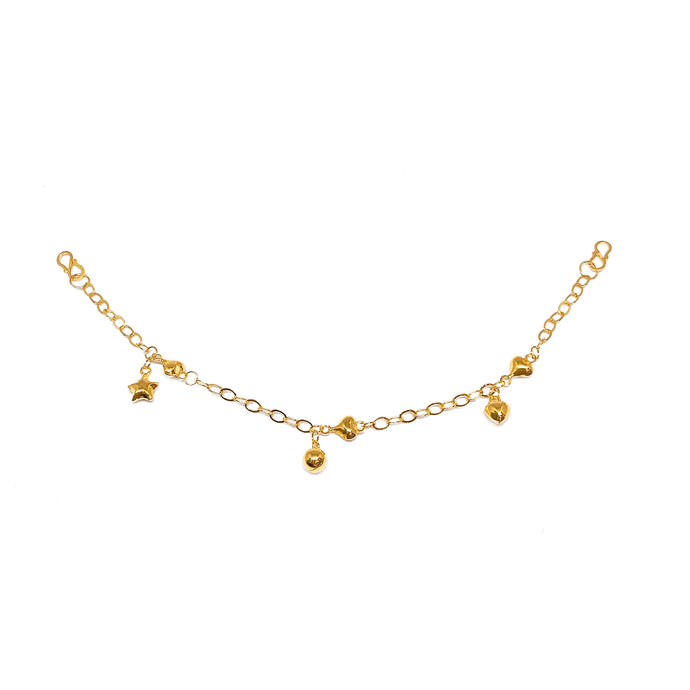 Mixed Charms Baby Anklet - Heart and Star