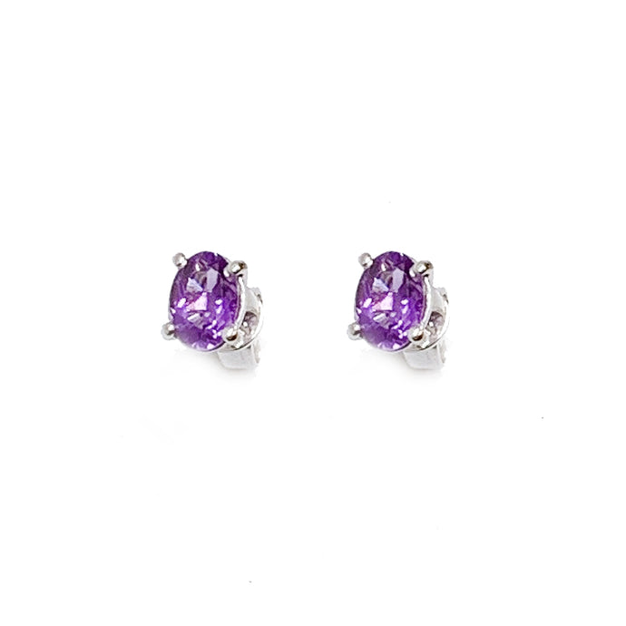 18K White Gold Oval Amethyst Earring Stud
