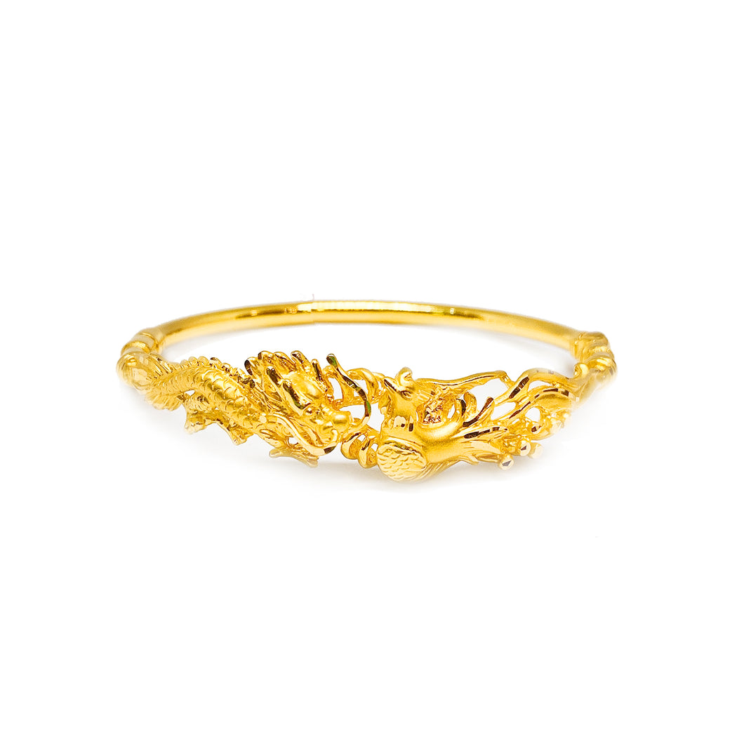 Lock Spring Type 3D Dragon & Phoenix Bangle - Oval