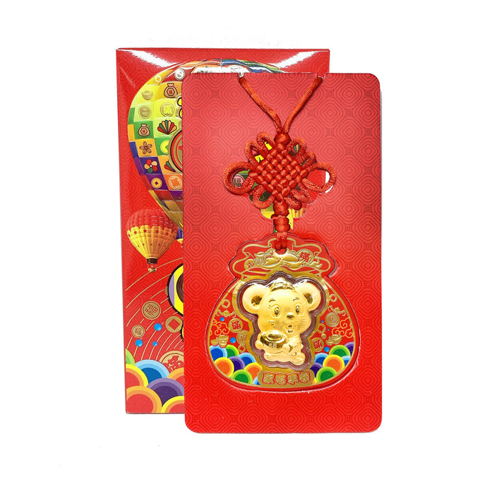 999 Gold Foil Hanging Accessory Red Packet - Rat ( 0.2g )