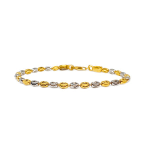 Two Tone Oval Beaded Bracelet