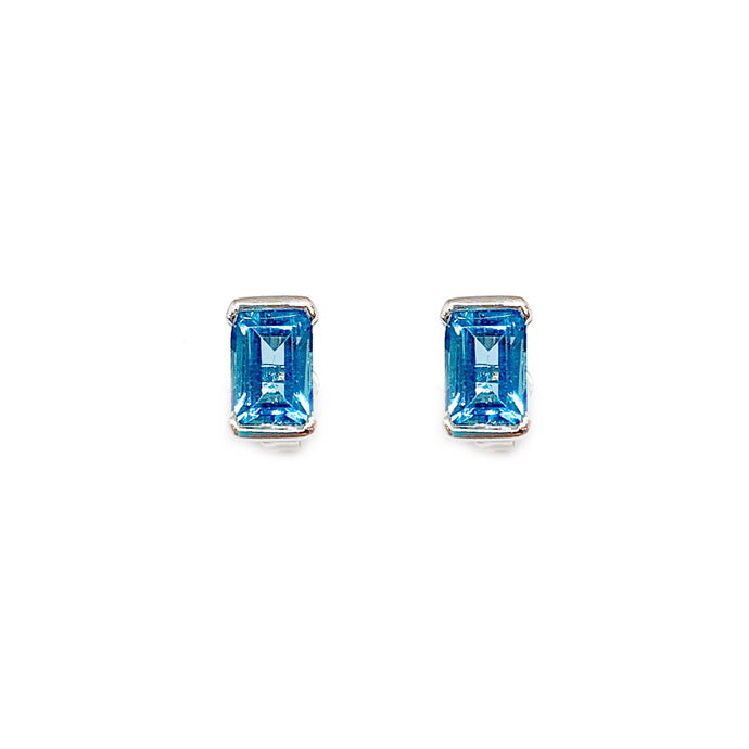 18K White Gold Emerald Cut Blue Topaz Earring Stud