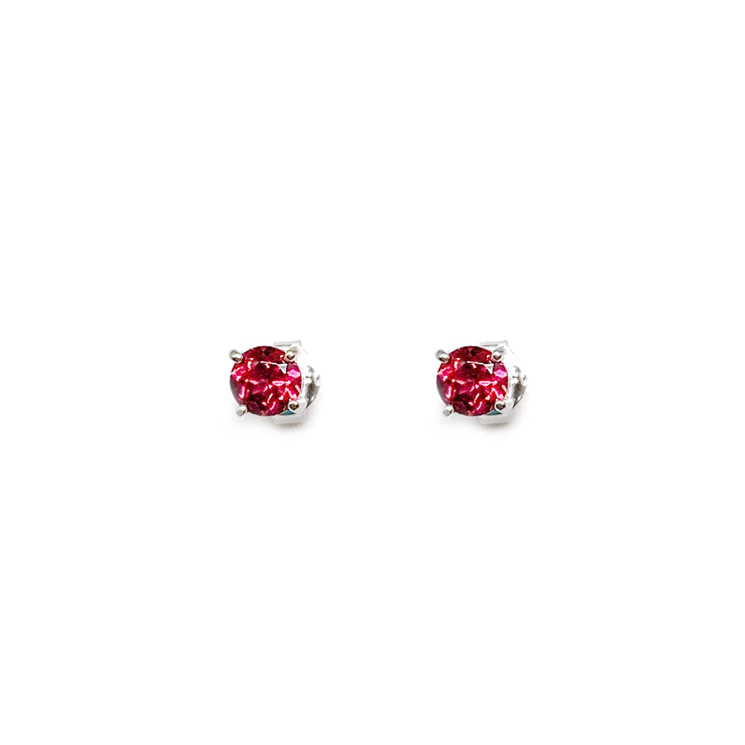 18K White Gold Round Brilliant Pink Sapphire Earring Stud