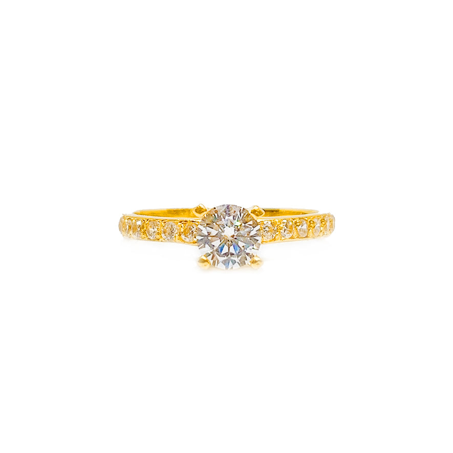 Cubic Zirconia Solitaire Dainty Ring