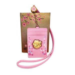 999 Gold Foil Fortune Cat Card Holder Lanyard ( 0.2g ) - Pink