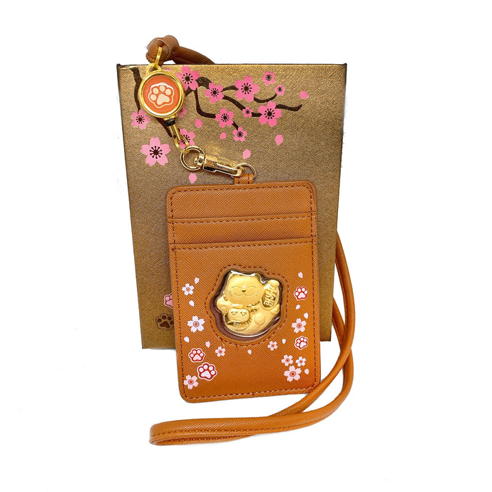 999 Gold Foil Fortune Cat Card Holder Lanyard ( 0.2g ) - Brown