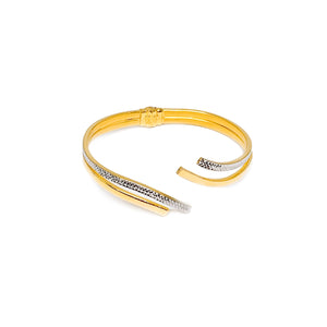 Two Tone Elegant Open Bangle
