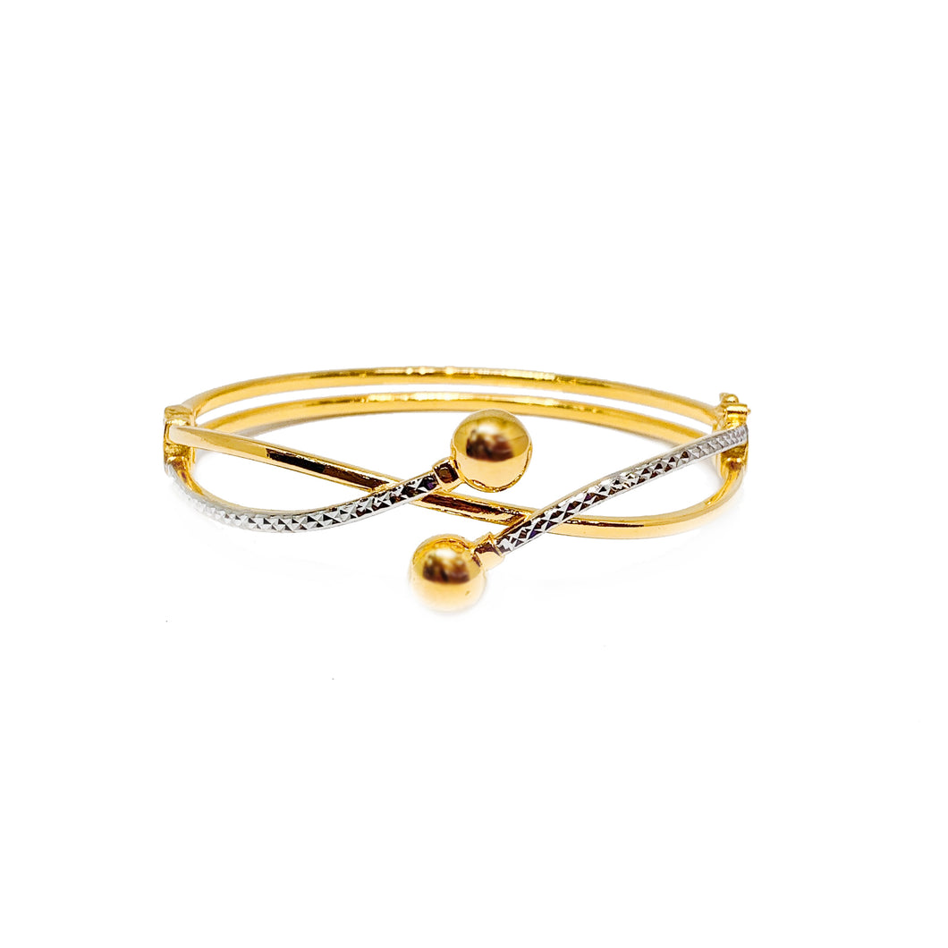 Two Tone Intertwined Bead End Bangle