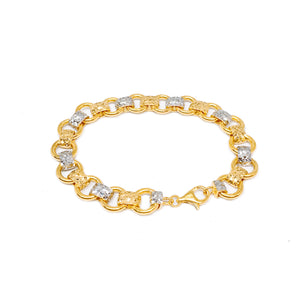 Two Tone Linked Hoops Bracelet - Cutting