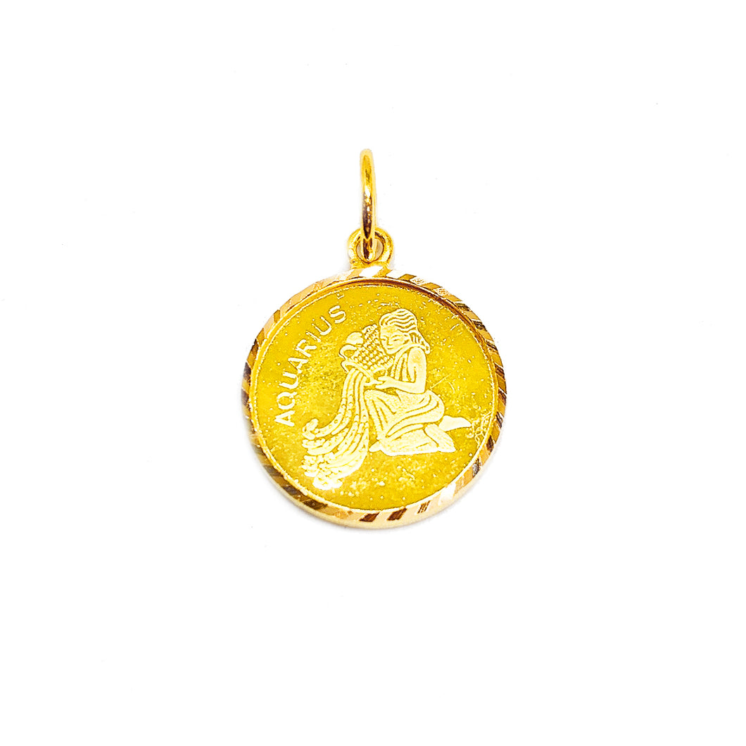 Horoscope Medallion Pendant - Aquarius