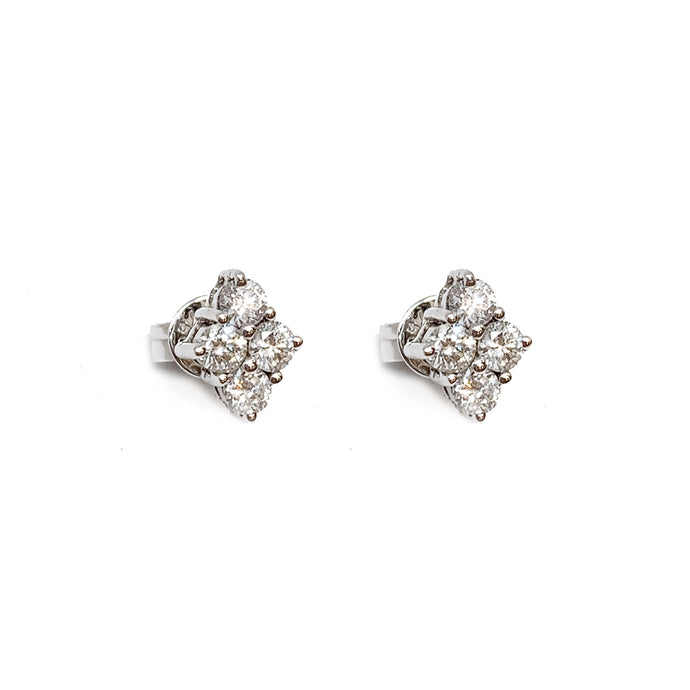 18K White Gold Diamond Shaped Diamond Earring Stud