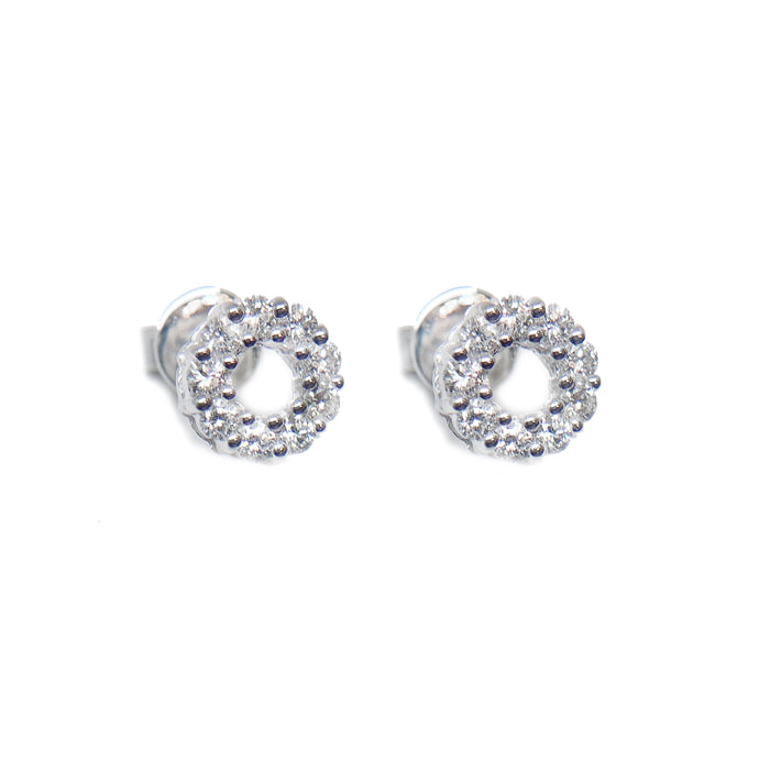 18K White Gold Halo Diamond Earring Stud