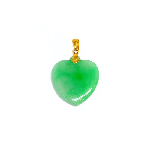 Heart Jade With Gold Pendant - SALE