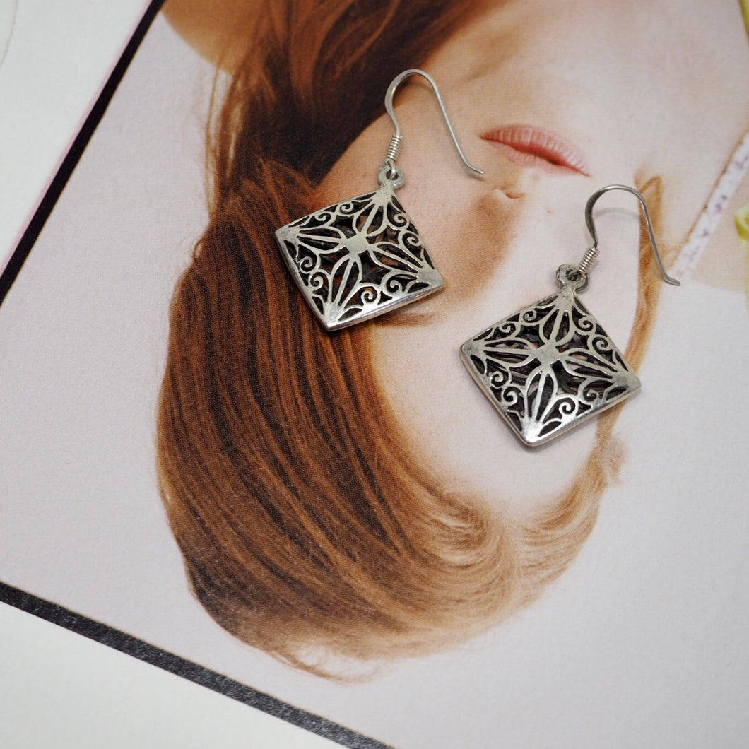 Dangling Oxidised Silver Square Earrings - Vintage