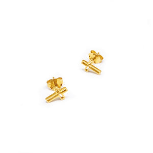 Push Type Cross Earring Stud - Cut Out