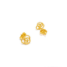 Push Type Twisted Three Interlinked Circles Earring Stud