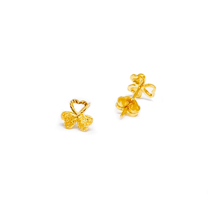 Push Type Three Leaf Clover Heart Cut Out Earring Stud