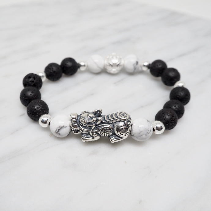 Oxidised Silver Pixiu with Money Ball, Howlite and Lava Stone Beads Bracelet - Black