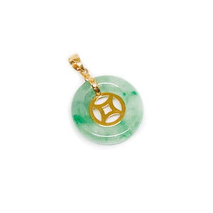 Gold Traditional Coin in Circular Jade Pendant