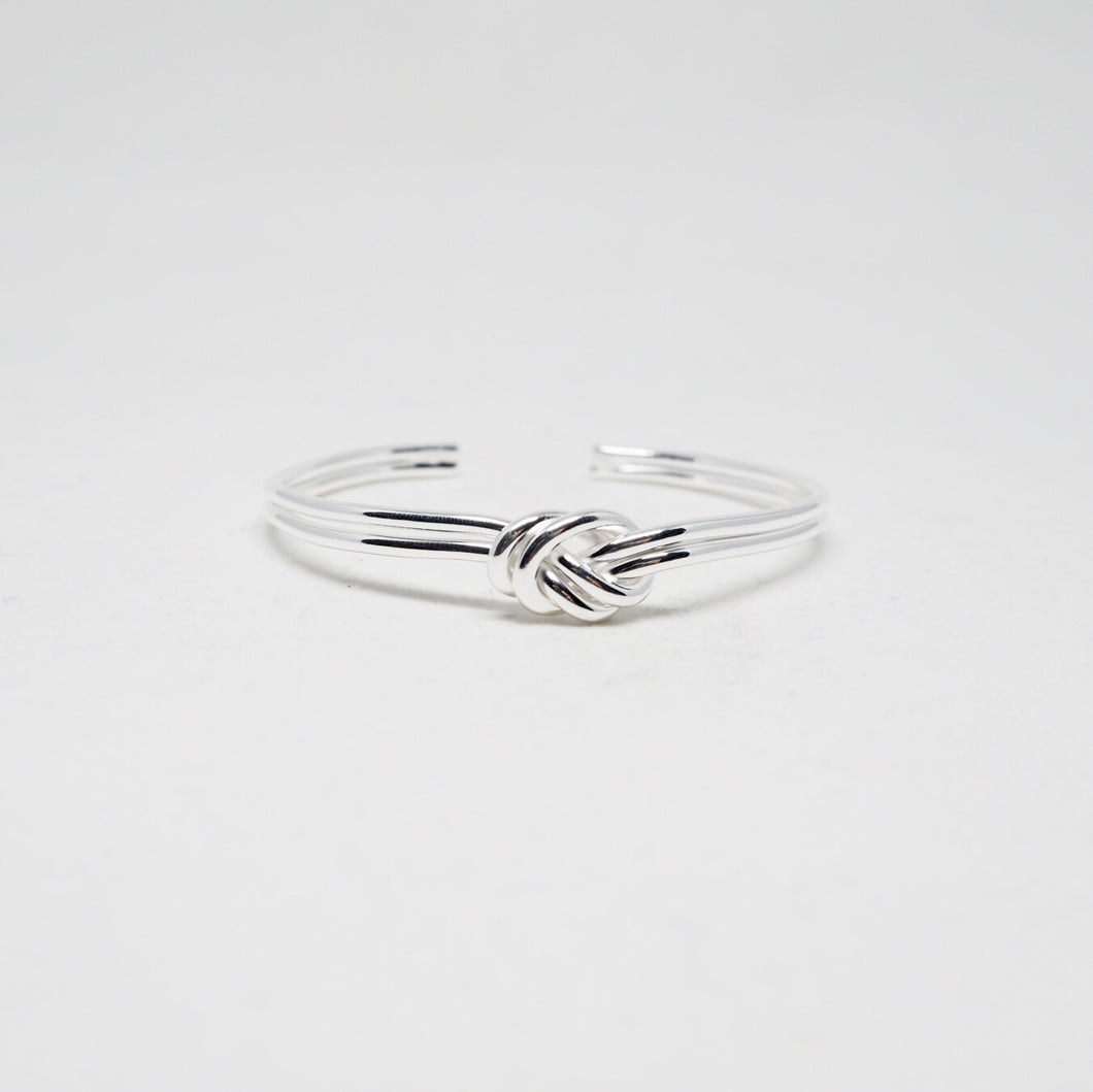 Minimalist Silver Double Knot Open Bangle