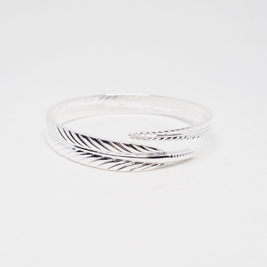 Silver Feather Open Bangle