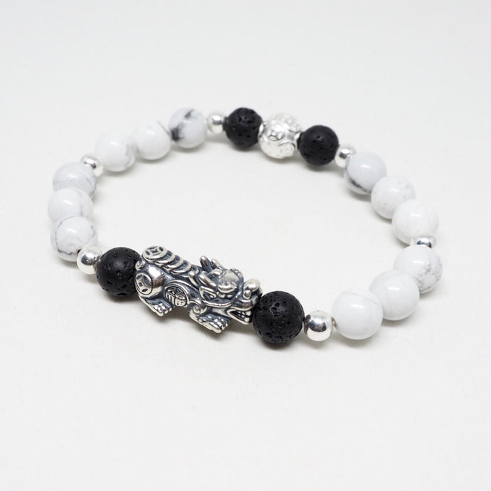 Oxidised Silver Pixiu with Money Ball, Howlite and Lava Stone Beads Bracelet - White