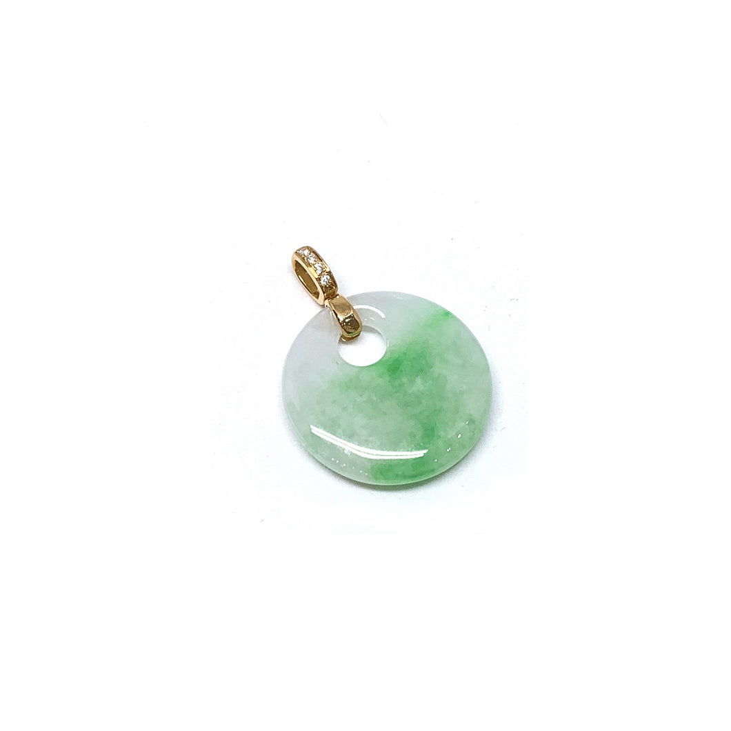 Round Cut Out Jade Pendant With Diamonds
