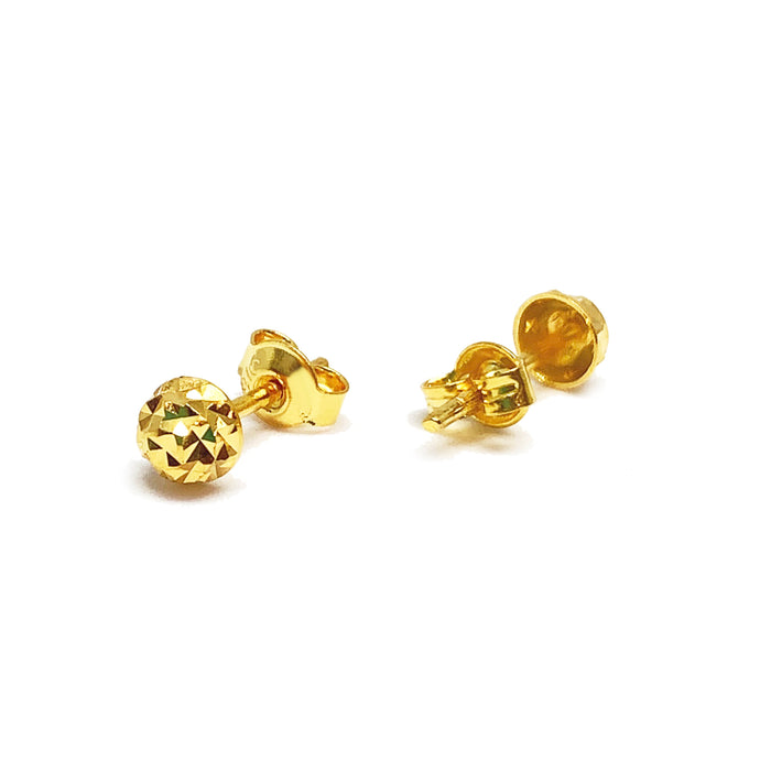 Push Type Hollow Half Bead Earring Stud - Cutting
