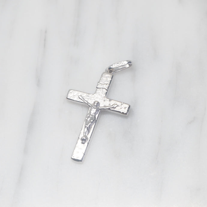 White Gold Textured Cross Pendant